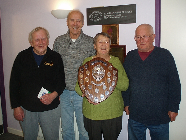 Members of the Bowls club with Treviscoe Memorial Shield